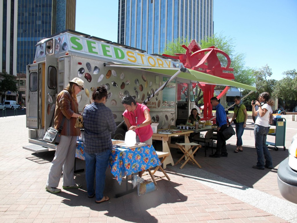 Mobile Seed Story Broadcasting Station partners up with the Pima County Seed Libraries, Tucson, AZ, April 2013.