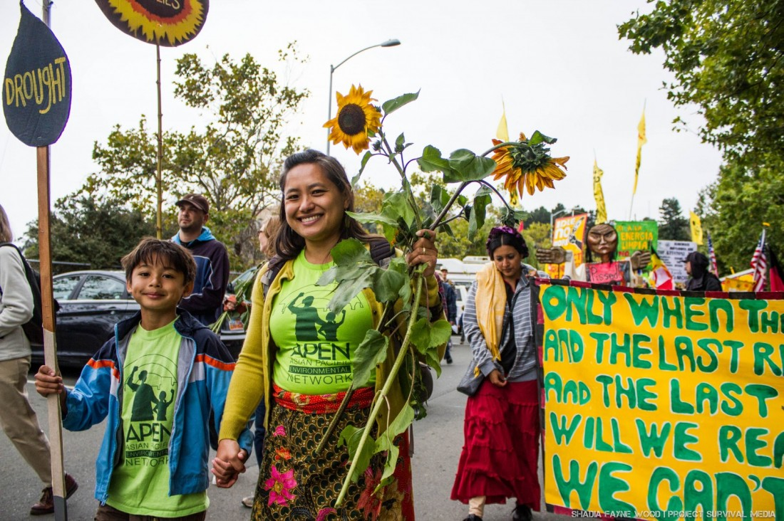 Recent protest in the Bay area around the Chevron refinery. Photo by Shadia