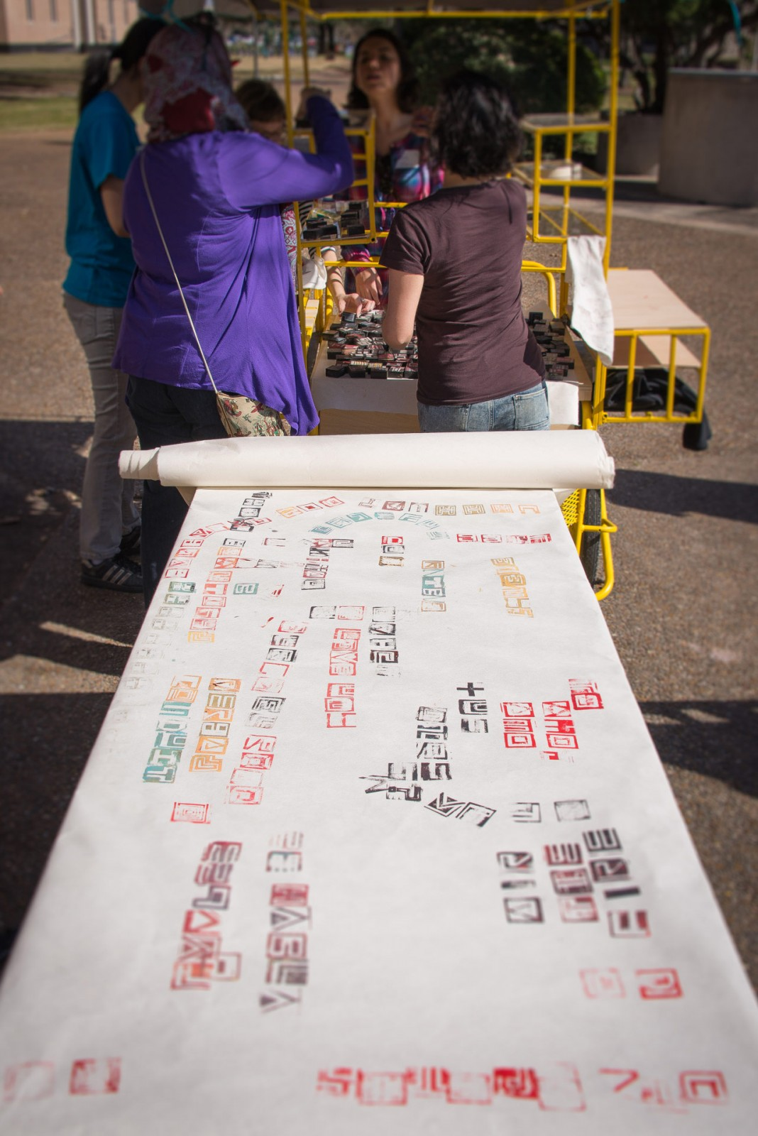 Mexican artist Nuria Montiel turned the AntenaMóvil into a mobile printing press as part of the encuentro Antena hosted in conjunction with Antena @ Blaffer; Photo: Pablo Giménez Zapiola